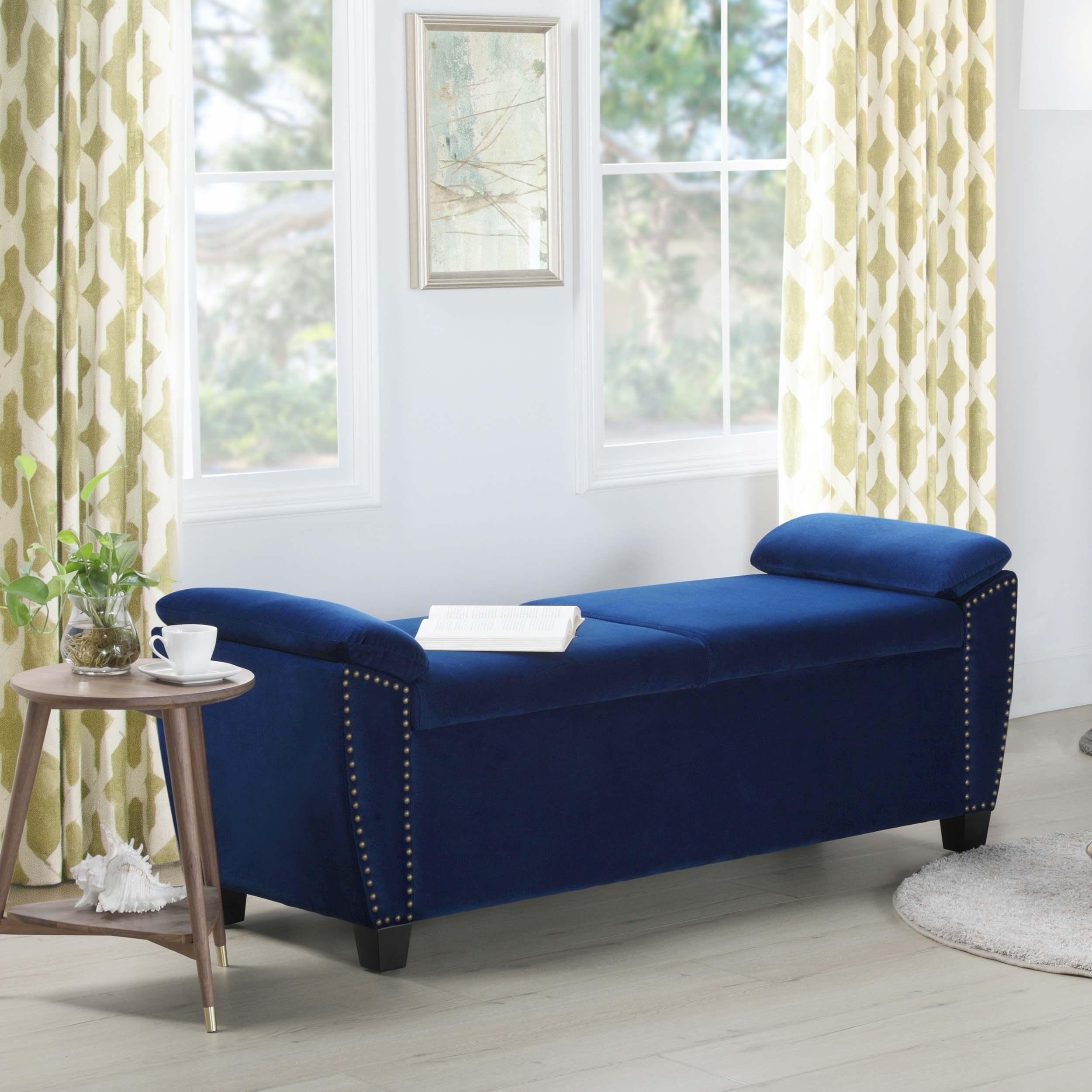 silver orchid barry nailhead accent storage bench