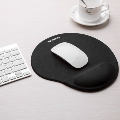 VicTsing Mouse Pad with Memory Foam Rest Non-Slip PU Base Smooth Covering Ergonomic Design Wrist Rest Pad for Typist Office