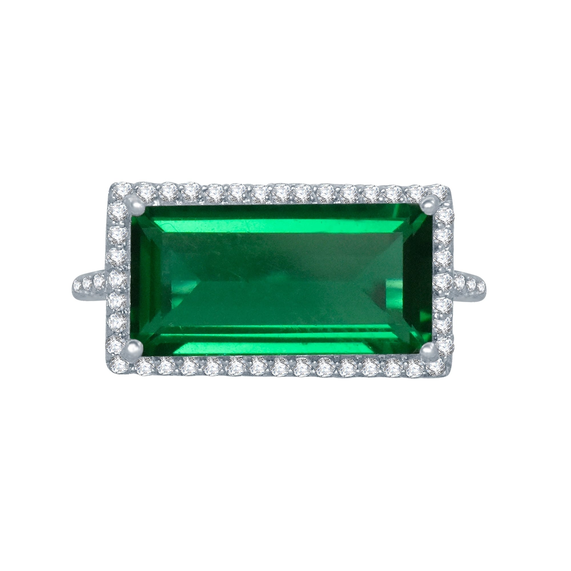 925 Sterling Silver Ring NATURAL EMERALD Halo Gemme Taille 4-11