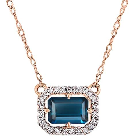 """Gold Over Sterling Silver with Natural London Blue Topaz and White Topaz Floating Halo Pendant with 18"""" Chain"""