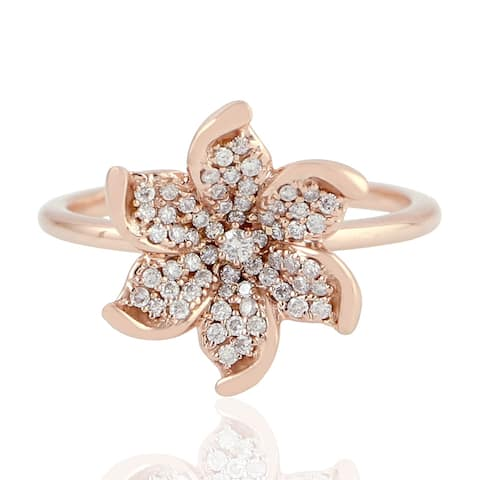 Flower Diamond Engagement Ring In Rose Gold
