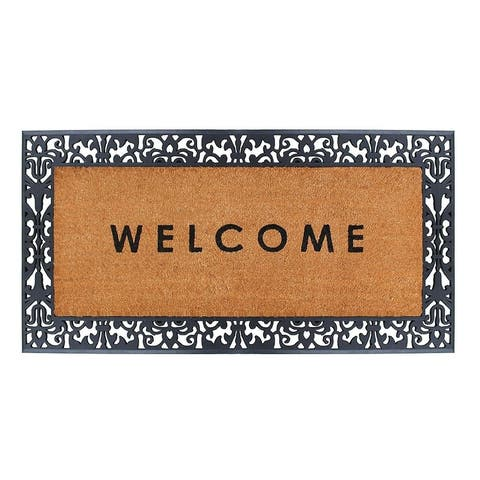 """A1HC Rubber and Coir, Extra Large Size Doormat,30"""" X 60"""", Black/Beige"""