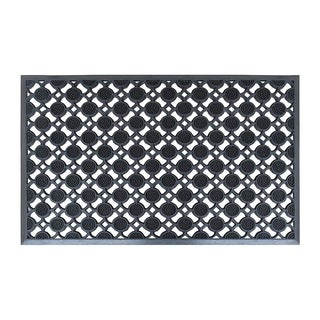 """A1HC First Impression Rubber Round Eye Pin Mat, Heavy Duty,Scrubbing Pins, Indoor/ Outdoor All Weather Doormat(23.5"""" x 35.5"""")"""