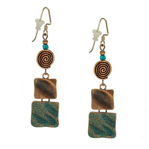 Handmade Bohemian Square and Spiral Copper Patina Earrings - copper-patina