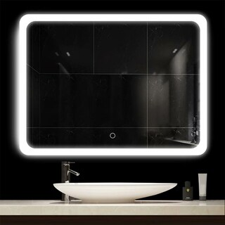 LED Touch Screen Dimmable Frameless Bathroom Mirror with Anti-Fog - N/A