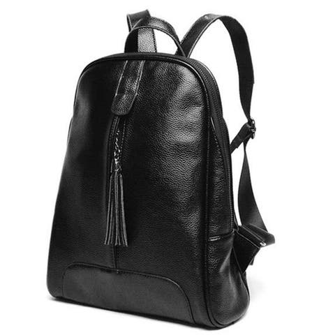Women Fashion Campus Classic Genuine Leather Backpack Travel bag