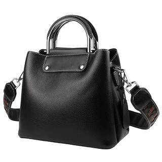 Genuine Leather Top Zip Ladies Tote Bag with Shoulder Strap