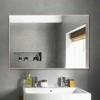 Rectangular Aluminum Alloy Thin Frame Wall-Mounted Bathroom Mirror