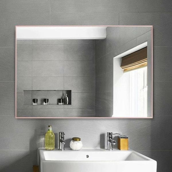 Porch & Den Lovegren Rectangular Glass Bathroom Mirror with Thin Aluminum Alloy Frame - 35.83 X 24.02