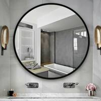 NeutypeChic Aluminum Alloy Framed Round Mirror - 23.62x23.62