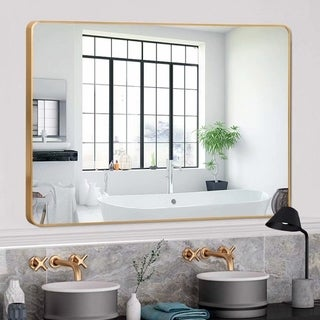 Gold Round-Corner Wall Mirror with Aluminum Alloy Thin Frame