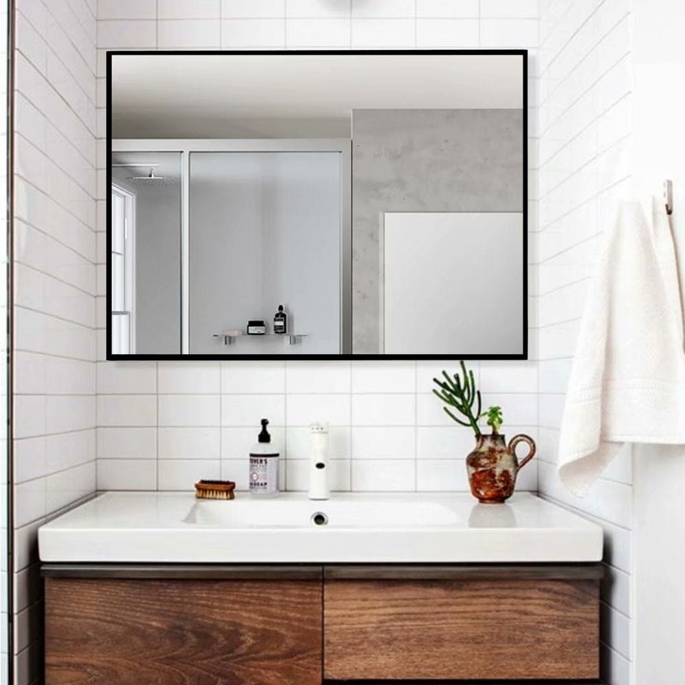 Black Large Rectangle Bathroom Wall Mounted Vanity Mirror 38 X 26 As Is Item Overstock 30116272