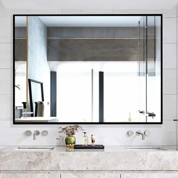 Shop Black Large Rectangle Bathroom Wall-Mounted Vanity ...