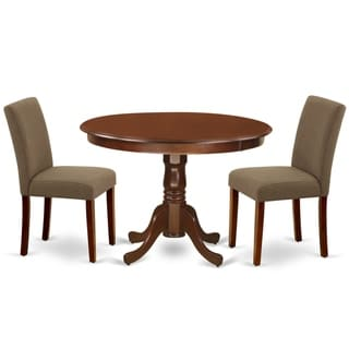 HLAB-MAH-18 Round 42 Inch Table and Parson Chairs in Coffee Linen Fabric (Number of Chairs Option)