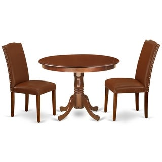 Round 42 Inch Table and Parson Chairs in Brown Faux Leather (Number of Chairs Option)