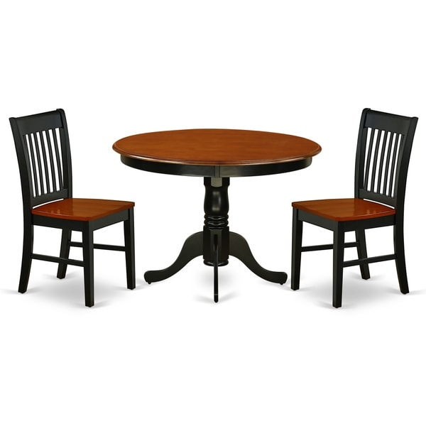 Round 42 Inch Table and Wood Seat Chairs in Black and Cherry Finish (Number of Chairs Option)