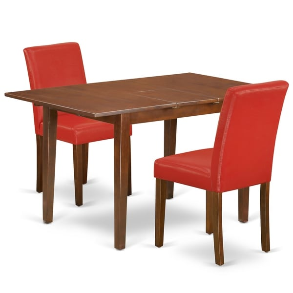 Rectangle 42/54 Inch Table and Parson Chairs in Firebrick Red PU Leather (Number of Chairs Option)