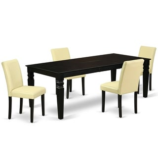 Rectangular 66/84 Inch Table and Parson Chairs in Eggnog PU Leather (Number of Chairs Option)