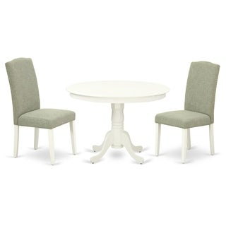 Round 42 Inch Table and Parson Chairs in Dark Shitake Linen Fabric (Number of Chairs Option)