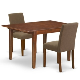 Rectangle 42/54 Inch Table and Parson Chairs in Coffee Linen Fabric (Number of Chairs Option)