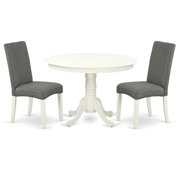 Round 42 Inch Table and Parson Chairs in Gray Linen Fabric (Number of Chairs Option)