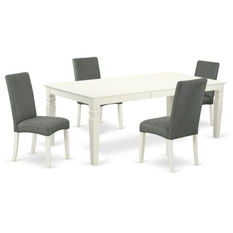 Rectangular 66/84 Inch Table and Parson Chairs in Gray Linen Fabric (Number of Chairs Option)