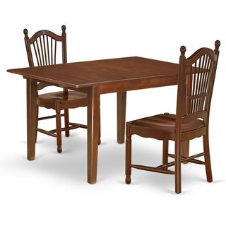 Rectangle 42/54 Inch Table and Wood Seat Dining Chairs in Mahogany Finish (Number of Chairs Option)