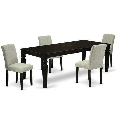 Rectangular 66/84 Inch Table and Parson Chairs in Shitake Linen Fabric (Number of Chairs Option)