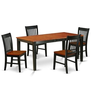 Rectangle 54/66 Inch Table and Wood Seat Dining Chairs in Black and Cherry Finish (Number of Chairs Option)