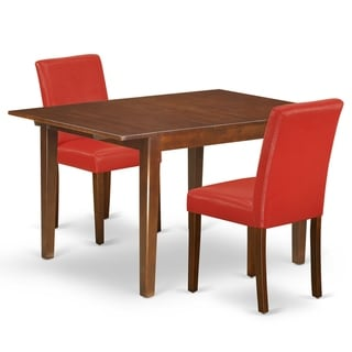Rectangle 42/53.5 Inch Table and Parson Chairs in Firebrick Red PU Leather (Number of Chairs Option)