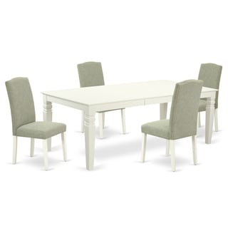 Rectangular 66/84 Inch Table and Parson Chairs in Dark Shitake Linen Fabric (Number of Chairs Option)