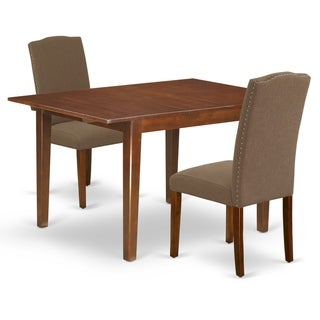 Rectangle 42/54 Inch Table and Parson Chairs in Dark Coffee Linen Fabric (Number of Chairs Option)