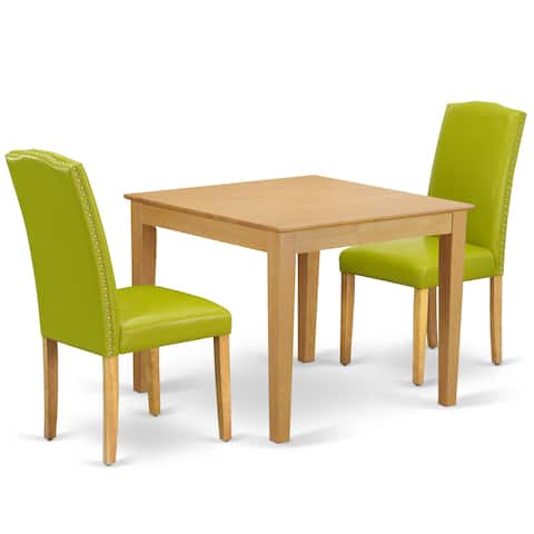 Square 36 Inch Table and Parson Chairs in Autumn Green PU Leather (Number of Chairs Option)