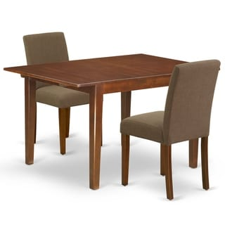 Rectangle 42/53.5 Inch Table and Parson Chairs in Coffee Linen Fabric (Number of Chairs Option)