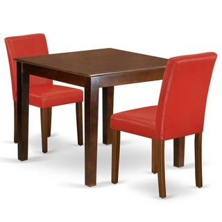 Square 36 Inch Table and Parson Chairs in Firebrick Red PU Leather (Number of Chairs Option)