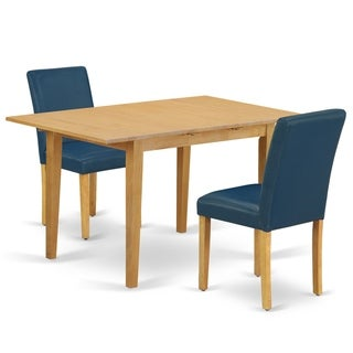 Rectangle 42/53.5 Inch Table and Parson Chairs in Oasis PU Leather (Number of Chairs Option)