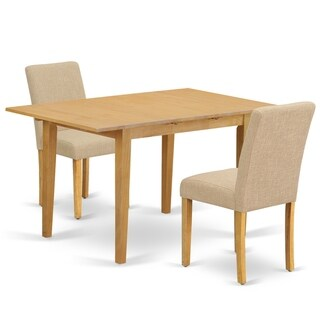 Rectangle 42/53.5 Inch Table and Parson Chairs in Light Fawn Linen Fabric (Number of Chairs Option)