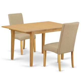 Rectangle 42/53.5 Inch Table and Parson Chairs in Dark Khaki Linen Fabric (Number of Chairs Option)