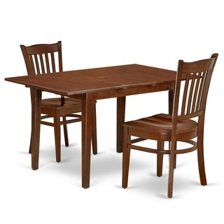 Rectangle 42/53.5 Inch Table and Wood Seat Kitchen Chairs in Mahogany Finish (Number of Chairs Option)