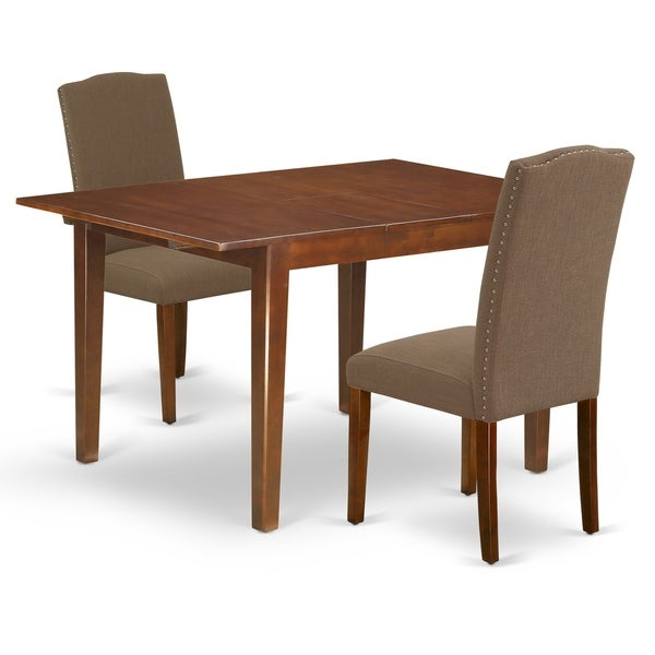 Rectangle 42/53.5 Inch Table and Parson Chairs in Dark Coffee Linen Fabric (Number of Chairs Option)