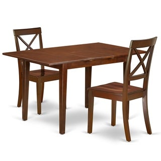 Rectangle 42/53.5 Inch Table and Wood Seat Dining Chairs in Mahogany Finish (Number of Chairs Option)
