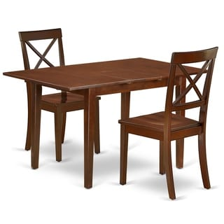 Rectangle 48/60 Inch Kitchen Table and Wood Seat Chairs in Mahogany Finish (Number of Chairs Option)