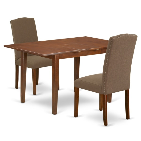 Rectangle 48/60 Inch Kitchen Table and Parson Chairs in Dark Coffee Linen Fabric (Number of Chairs Option)