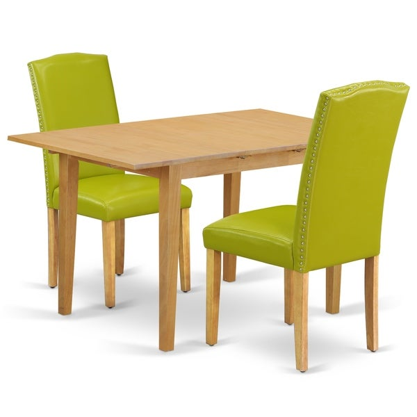 Rectangle 42/53.5 Inch Table and Parson Chairs in Autumn Green PU Leather (Number of Chairs Option)