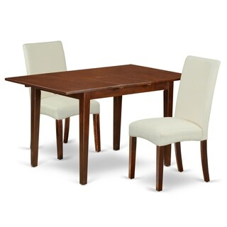 Rectangle 42/53.5 Inch Table and Parson Chairs in Cream Linen Fabric (Number of Chairs Option)