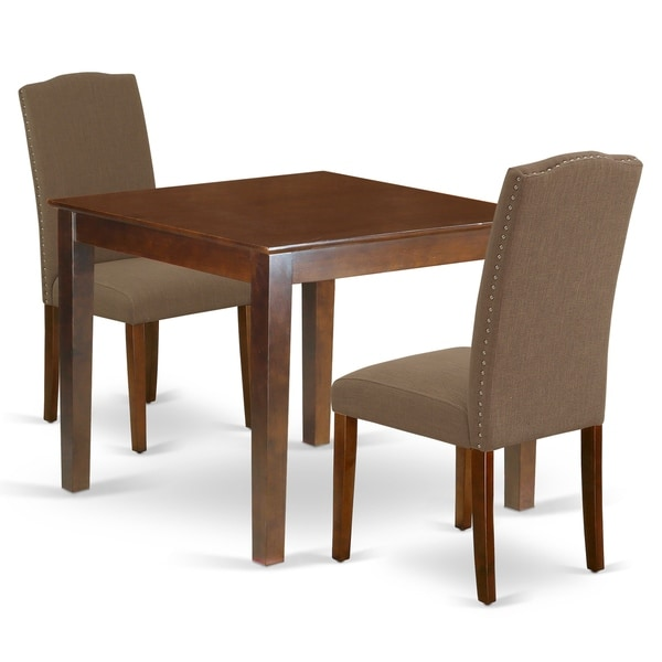 Square 36 Inch Table and Parson Chairs in Dark Coffee Linen Fabric (Number of Chairs Option)