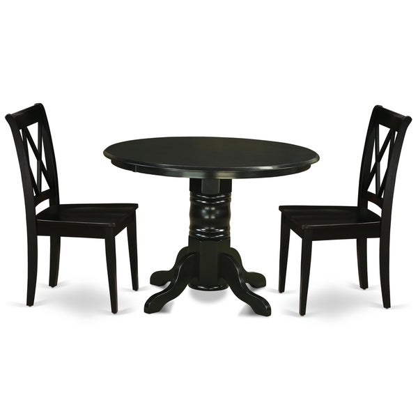 Round 42 Inch Table and Wood Seat Kitchen Chair in Black Finish (Number of Chairs Option)