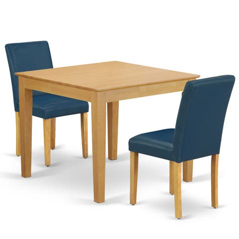 Square 36 Inch Table and Parson Chairs in Oasis PU Leather (Number of Chairs Option)