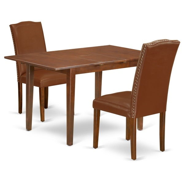 Rectangle 48/60 Inch Kitchen Table and Parson Chairs in Brown Faux Leather (Number of Chairs Option)