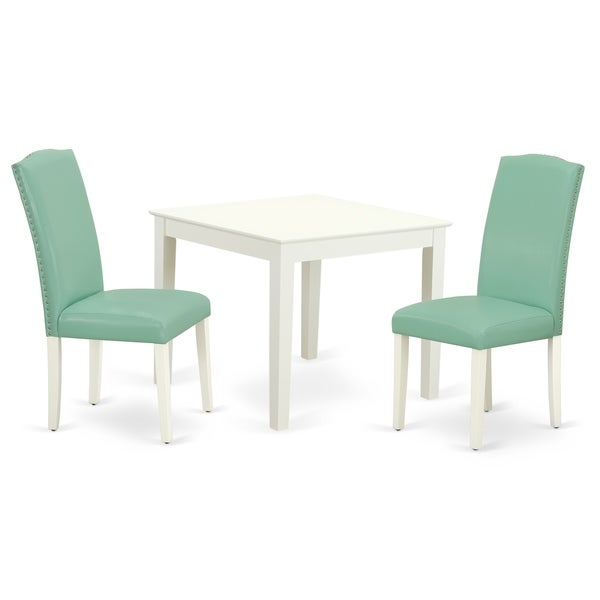 Square 36 Inch Table and Parson Chairs in Pond PU Leather (Number of Chairs Option)